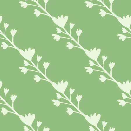 Minimalistic branches with flowers seamless pattern in pastel tones. Green background and light botanic elements. Designed for wallpaper, textile, wrapping paper, fabric print. Vector illustration. Stock Illustratie