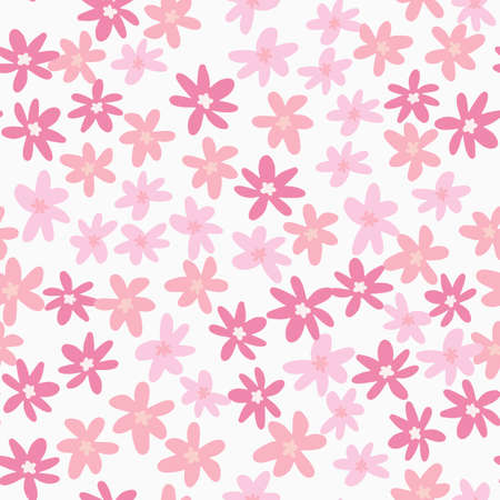 Isolated floral pattern with pink chamomile flowers on white background. Naive doodle backdrop. Vector illustration for textiles, wallpaper, web pages, wedding invitations.