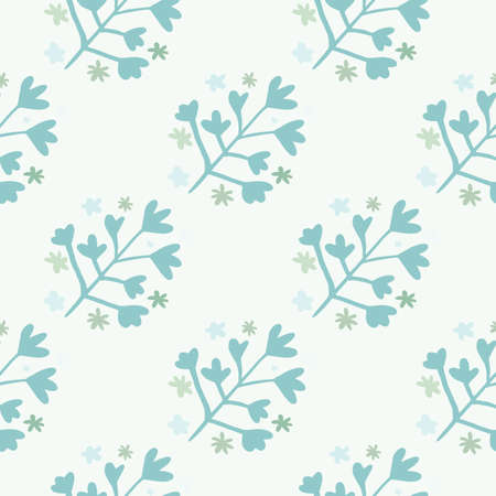 Winter seamless doodle pattern with blue botanic ornament on light background. Simple backdrop. Great for wrapping paper, textile, fabric print and wallpaper. Vector illustration.