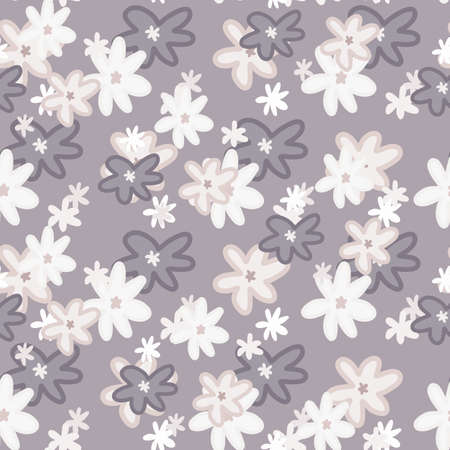 Seamless floristic pattern with daisy shapes and outline silhouettes. Light purple background with white elements. Designed for wallpaper, textile, wrapping paper, fabric print. Vector illustration.