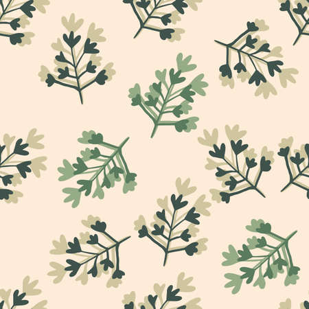 Random seamless spring pattern with branches. Floral shapes in green and dark blue tones on light pastel background. Backdrop for wallpaper, wrapping, textile print, fabric. Vector illustration. Stock Illustratie
