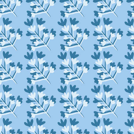 Winter seamless doodle pattern with botanic branch figures. Simple creative design in blue and white colors. Decorative backdrop for wallpaper, wrapping, textile print, fabric. Vector illustration.