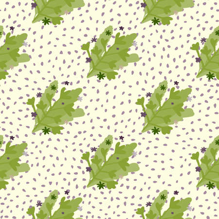 Creative seamless doodle pattern with green abstract foliage bouquet. White background with dots. Great for wrapping paper, textile, fabric print and wallpaper. Vector illustration.