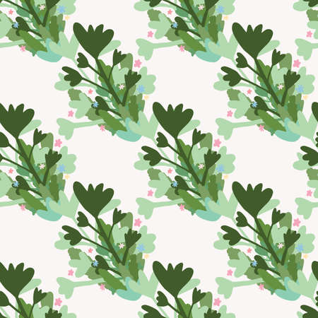 Seamless isolated pattern with abstract botanic silhouettes. Green and blue floral elements on white background. Great for wrapping paper, textile, fabric print and wallpaper. Vector illustration.