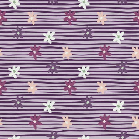 Daisy floral seamless pattern with purple stripped background. Flower elements in white and pink colors. Decorative backdrop for wallpaper, wrapping paper, textile print, fabric. Vector illustration. Stock Illustratie