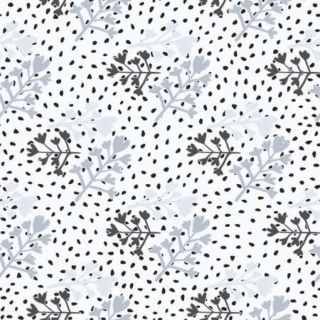 Doodle floral seamless pattern with blue tones flower branches shapes ornament. White background with dots. Perfect for wallpaper, wrapping paper, textile print, fabric. Vector illustration.