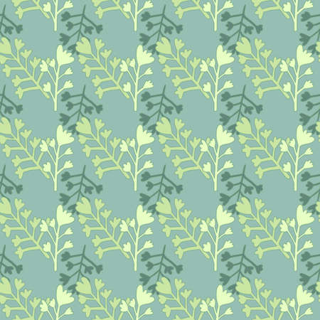 Wildflowers branches figures seamless doodle pattern. Blue background with botanic ornament in green tones. Perfect for wallpaper, wrapping paper, textile print, fabric. Vector illustration. Stock Illustratie