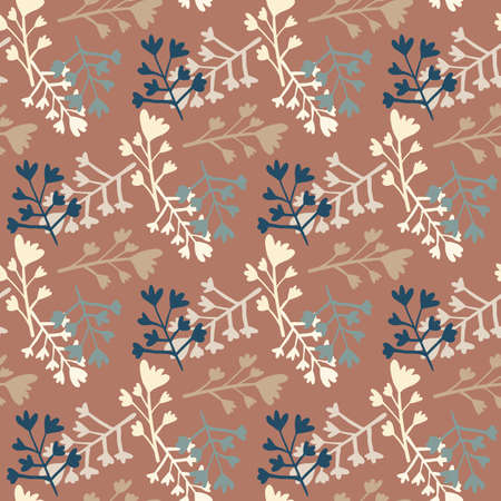 Branch abstract figures seamless pattern. Floral random ornament in brown brick color with beige and blue silhouettes. For wrapping, textile, fabric print and wallpaper. Vector illustration. Stock Illustratie