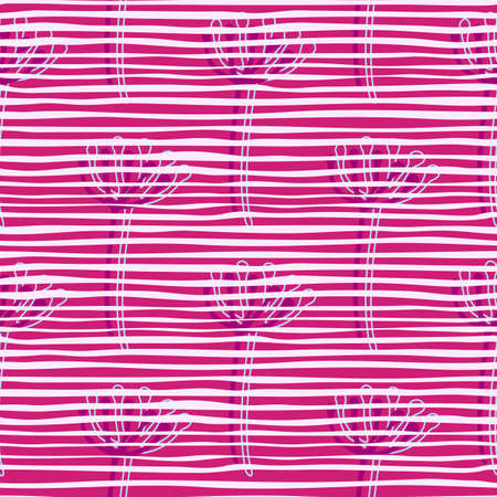 Botanic floral dandelion purple silhouettes seamless pattern. Background in pink and white strips. Great for wrapping paper, textile, fabric print and wallpaper. Vector illustration.
