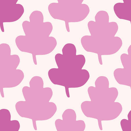 Isolated seamless pattern with leafs figures on white background. Simple abstract leaves in pink and lilac colors. Decorative print for wallpaper, wrapping paper, textile print, fabric. Vector