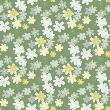 Spring seamless floral pattern with daisy flowers silhouettes. Pastel green background with light blue and white botanic ornament. For wallpaper, textile, wrapping paper, fabric print. Vector