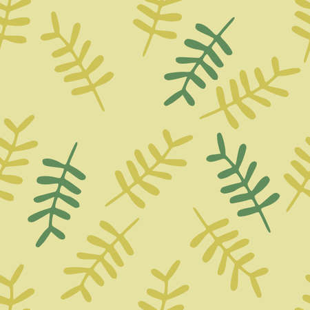 Doodle random seamless botanic pattern with green and yellow branches leafs on light background. Simple decorative backdrop. Great for wrapping paper, textile, fabric print and wallpaper. Vector