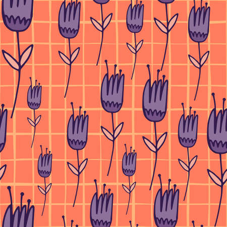 Random bright seamless floral pattern with outline purple tulip silhouettes. Coral background with check. Summer backdrop. Designed for wallpaper, textile, wrapping paper, fabric print. Vector