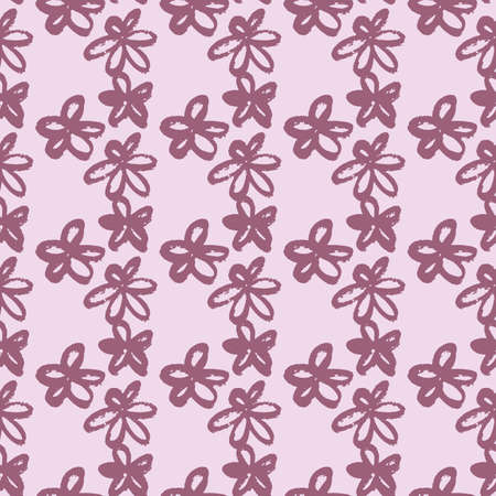 Seamless pattern with purple brushed daisy flowers. Pastel light pink background. Grunge simple backdrop. Perfect for wallpaper, wrapping paper, textile print, fabric. Vector illustration.