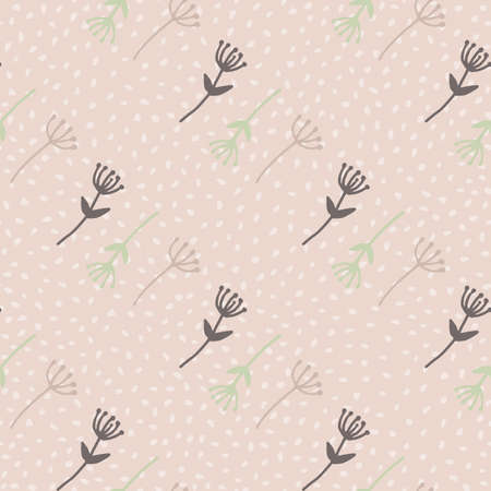 Dandelion outline abstract figures seamless doodle pattern. Pastel tone elements on light pink background with dots. For wallpaper, wrapping paper, textile print, fabric. Vector illustration.