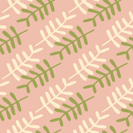 Branches silhouettes seamless doodle pattern. Floral elements in green and white colors on pink background. Designed for textile, wrapping paper, fabric print. Vector illustration.