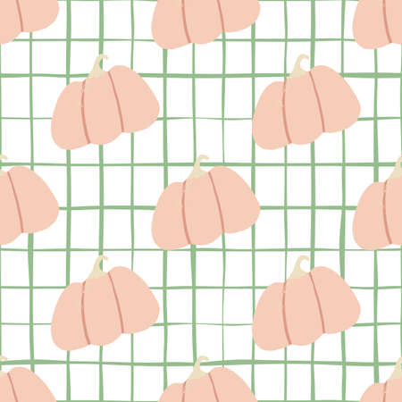 Doodle seamless pattern with soft pink pumpkin food ornament. White bacgound with check. Designed for wallpaper, textile, wrapping paper, fabric print. Vector illustration.