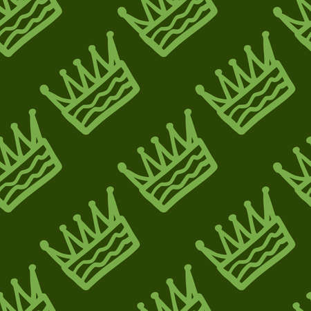 Simple seamless pattern with crown hand drawn elements. Green tones stylized artwork. Great for wrapping paper, textile, fabric print and wallpaper. Vector illustration. Stock Illustratie