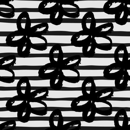 Monochrome seamless pattern with brushed fdaisy flowers. Stripped background. Contrast desigm in white and black tones. For wallpaper, wrapping paper, textile print, fabric. Vector illustration. Stock Illustratie