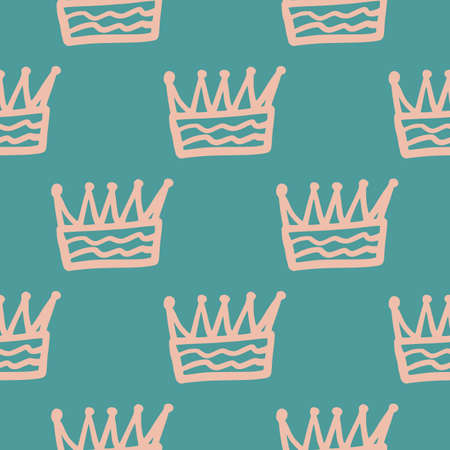 Pink contoured crown outline abstract elements seamless pattern. Turquoise background. Simple doodle print. Designed for wallpaper, textile, wrapping paper, fabric print. Vector illustration.