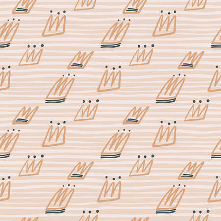 Pastel tones seamless pattern with orange contoured crown silhouettes. Light background with strips. Great for wrapping paper, textile, fabric print and wallpaper. Vector illustration. Stock Illustratie