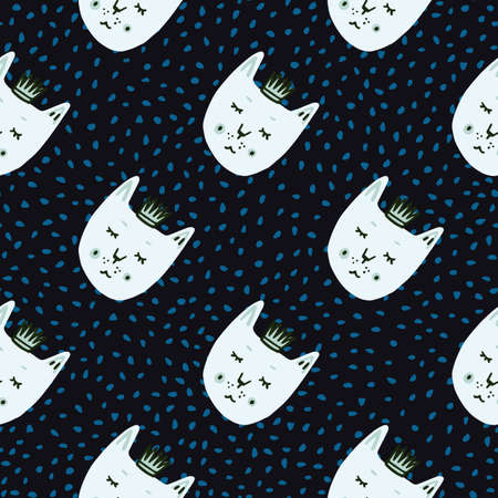 Cat with crowns seamless naive doodle pattern. Black background with blue dots and white faces animals print. Decorative backdrop for wallpaper, wrapping, textile print, fabric. Vector illustration.