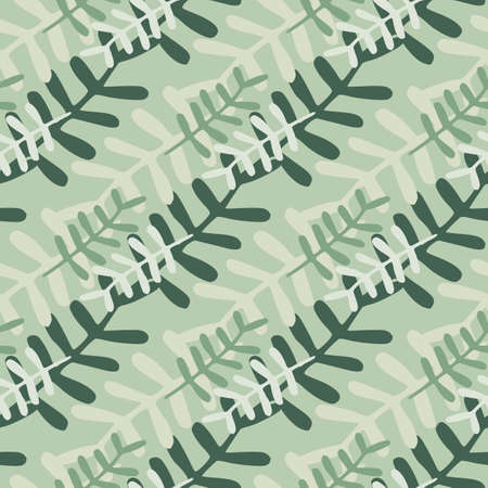 Botanic floral branches seamless pattern. Gray and green elements on pastel background. Naive design. Designed for textile, wrapping paper, fabric print. Vector illustration.