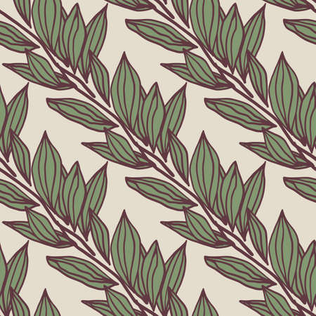 Floral seamless pattern with outline foliage silhouettes on light background. Green botanic ornament with purple contour. For wallpaper, textile, wrapping paper, fabric print. Vector illustration.