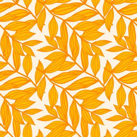 Floral isolated seamless pattern with outline foliage silhouettes. Yellow and orange tones botanic ornament on white background. For wrapping, textile, fabric print and wallpaper. Vector illustration Stock Illustratie