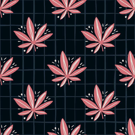 Bright seamless marijuana pattern. Black background with check and pink tones cannabis leaves. Great for wrapping paper, textile, fabric print and wallpaper. Vector illustration. Stock Illustratie