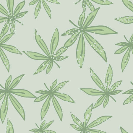 Seamless doodle random pattern with light green marijuana leafs. Light gray background. Designed for wallpaper, textile, wrapping paper, fabric print. Vector illustration.