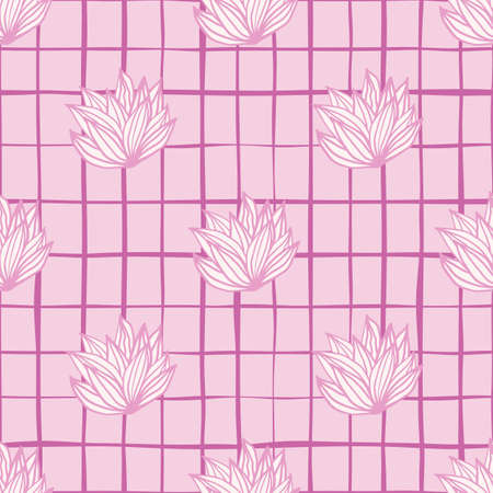 Pink palette leaves cluster seamless pattern. White foliage with pink contour and background with check. Great for wrapping paper, textile, fabric print and wallpaper. Vector illustration.