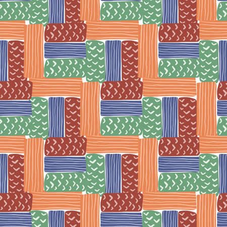 Tetris seamless rectangle pattern. Doodle figures in orange, blue, green, maroon tones. Simple backdrop. Great for wallpaper, textile, wrapping paper, fabric print. Vector illustration.