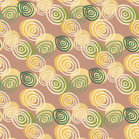 Pastel spiral circles hand drawn seamless pattern. Abstract ornament with green and yellow colors on soft background. Design for wallpaper, textile, wrapping paper, fabric print. Vector illustration. Stock Illustratie