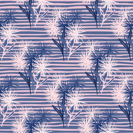 Floral dandelion elements doodle seamless pattern. Stripped background. Endless botanic backdrop in pink and blue colors. Great for wrapping, textile, fabric print and wallpaper. Vector illustration. Stock Illustratie