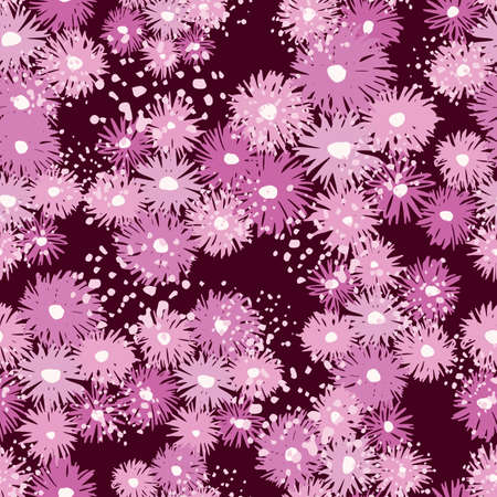Random seamless pattern with purple and lilac chrysanthemum elements. Maroon background with splashes. Decorative print for wallpaper, wrapping paper, textile print, fabric. Vector illustration.