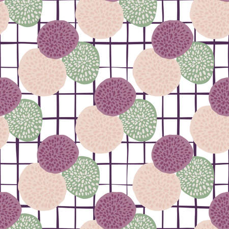 Dot circles bright doodle pattern with white checkered background. Purple, light green and pink figure elements. Design for wallpaper, textile, wrapping paper, fabric print. Vector illustration.