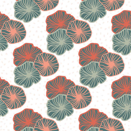 Isolated geometric outline flowers seamless pattern. Pink and blue pastel contoured elements on white background. Perfect for wallpaper, textile, wrapping paper, fabric print. Vector illustration.