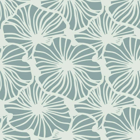 Flower contoured seamless pattern. Hand drawn light contoured botanic ornament. Navy pastel blue background. Designed for wallpaper, textile, wrapping paper, fabric print. Vector illustration.