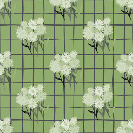 Seamless doodle pattern with botanic blowball bouquet in gray tones. Background in green pale color with check. Great for wrapping paper, textile, fabric print and wallpaper. Vector illustration. Stock Illustratie