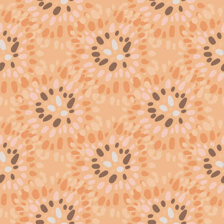 African point circles seamless pattern. Ethnic style print in orange tones. Designed for wallpaper, textile, wrapping paper, fabric print. Vector illustration. Stock Illustratie