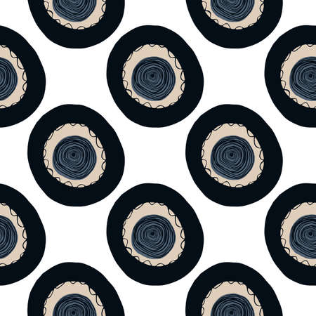 Circle spot silhouettes seamless pattern. Abstract geometry design with black and navy isolated ornament on white bakground. Perfect for wallpaper, textile, wrapping, fabric print. Vector illustration Stock Illustratie