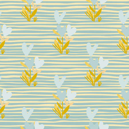 Seamless botanic pattern with flower heart elements. Design in pastel palette, blue and yellow tones. Background with strips. Great for wrapping paper, textile, fabric print and wallpaper. Vector