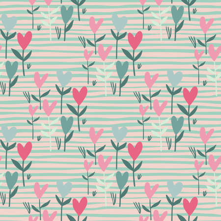 Pastel tender seamless heart pattern. Stripped background with turquoise lines. Pink and blue valentine flowers. Great for wrapping paper, textile, fabric print and wallpaper. Vector illustration.