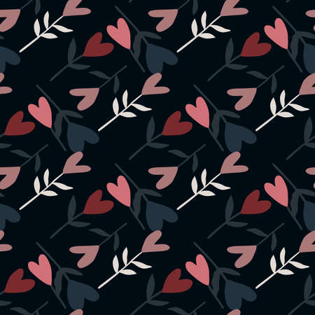 Dark valentine flowers seamless pattern. Pink heart botanic ornament on black background. Decorative print for wallpaper, textile, wrapping paper, fabric print. Vector illustration.