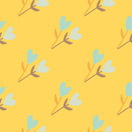 Seamless summer pattern with floristic heart twigs shapes. Yellow bright background. Naive stylized design. Perfect for wallpaper, wrapping paper, textile print, fabric. Vector illustration.