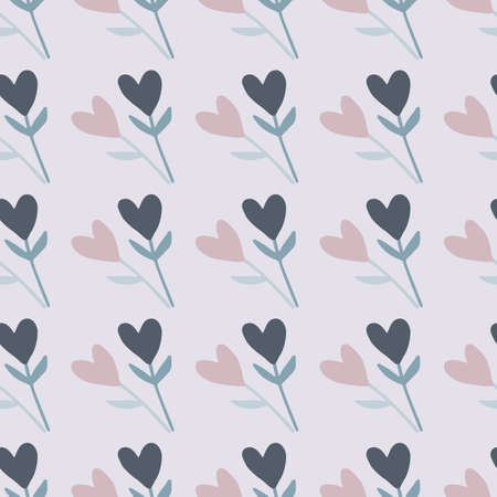Twigs with heart flower seamless doodle pattern. Light blue background and pastel navy blue and pink elements. Perfect for wallpaper, wrapping paper, textile print, fabric. Vector illustration.