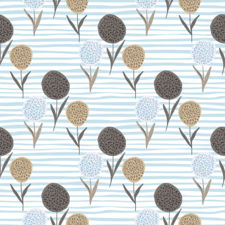 Floral dandelion silhouettes seamless pattern.Beigeand brown flower shapes on white background with blue strips. Great for wrapping paper, textile, fabric print and wallpaper. Vector illustration.