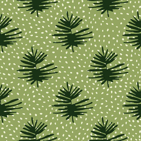 Leaf tropical silhouettes seamless doodle pattern. Stylized print with green dotted background and dark foliage. Decorative backdrop for wallpaper, textile, wrapping, fabric print. Vector illustration