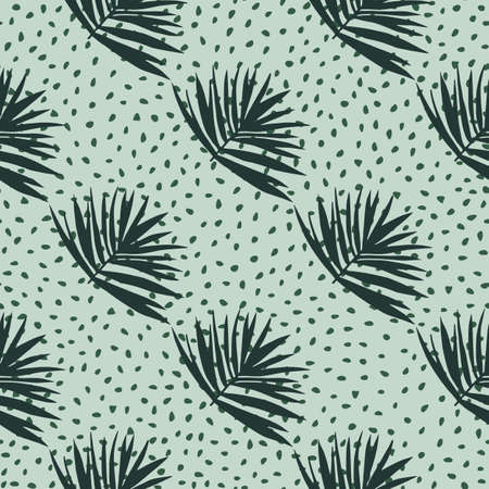 Hand drawn seamless pattern with bush leaves. Light green background with dots and dark green tropical foliage ornament. Great for wrapping, textile, fabric print and wallpaper. Vector illustration.